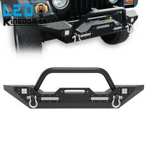 Textured Front Bumper W Led Lights Hardware For 2007 2018 Jeep Wrangler Jk