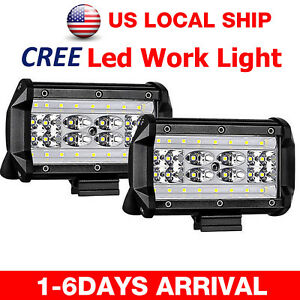 5 1200w Cree Led Work Light Bar Flood Combo Pods Driving Off road Tractor 4wd