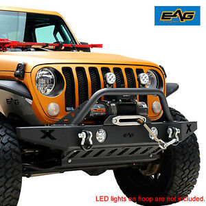 Eag Front Bumper With Winch Plate And Skid Plate Fit For 18 20 Jeep Jl Wrangler