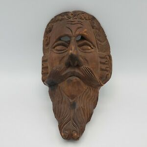 Antique Hand Carved Signed Wooden Mask Made In Spain