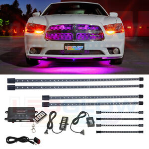 Ledglow 4pc Pink Neon Wireless Underbody Kit 4pc Interior Accent Lighting Kit