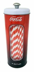 The Tin Box Company Coke 50 Coca Cola Holder Tin with 20 Paper Straws Red