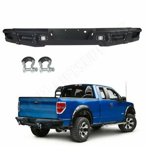 For Ford F 150 12 14 Rear Bumper Hard Black Complete Assembly Led Lights Guard