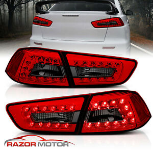2008 2015 Red Smoke Led Brake Tail Lights Pair For Mitsubishi Lancer 4door Sedan
