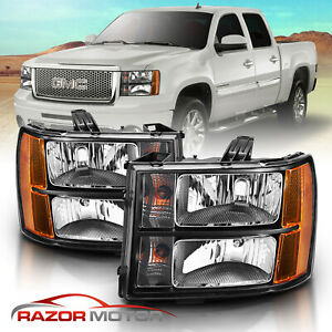 2007 2013 Gmc Sierra 1500 2500 3500 Black Headlights Left Right Factory Style