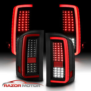2007 2014 For Chevy Silverado 1500 2500 3500 Black Led Tail Lights Pair