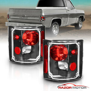 1973 1991 For Chevy Gm Blazer Suburban Pickup Truck Black Clear Tail Lights Pair