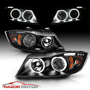 Dual Ccfl Halo 2006 2007 2008 Bmw E90 3 Series Sedan Projector Headlights Pair