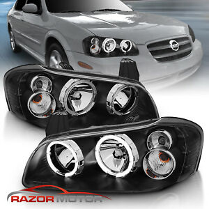 Dual Led Halo For 2002 2003 Nissan Maxima Dual Led Halo Black Headlights Pair