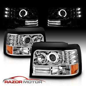 led Halo 1992 1996 Ford Bronco f150 f250 f350 Projector Chrome Headlights Pair
