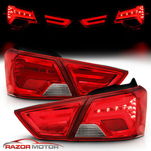 2014 2019 Chevy Impala Sedan Red Clear Led Tail Lights Pair
