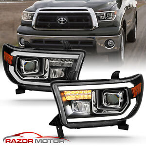 For 2007 2014 Toyota Tundra Sequoia Square Projector Black Headlights
