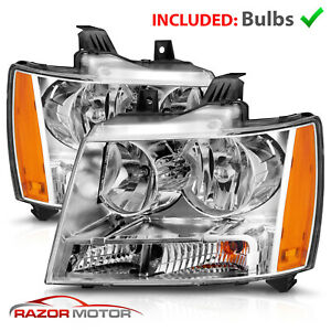 2007 14 Replacement Chrome Headlight Pair For Chevy Avalanche Subarban Tahoe