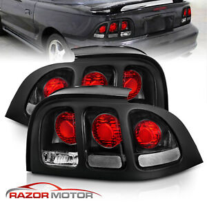 1994 1995 1996 1997 1998 For Ford Mustang Black Red Brake Tail Lights Lamps Pair