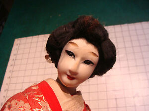 Vintage Asian Doll With Cloth Or Silk Face Red Clothes Nanamaigase 23 Tall