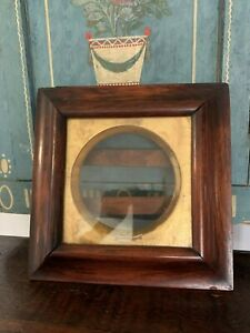 Wonderful Antique Unusual Square Showdow Box Frame With Gold Liner