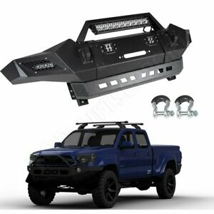 For 2005 2008 Toyota Tacoma Front Bumper Hard Black Textured Steel Pickup Truck