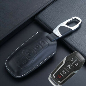 Fine Leather Car Key Case Cover For Ford F150 Fusion Lincoln Mkz Mkc Mkx Mustang