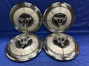 Vintage Set Of 4 1965 Plymouth 14 Spinner Hubcaps Sport Fury Mopar Good Cond
