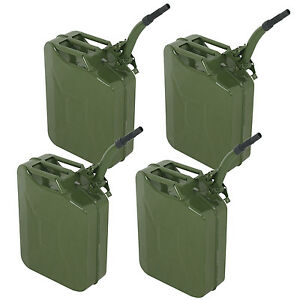 4pcs Green Jerry Can 5 Gallon 20l Gas Gasoline Fuel Army Backup Steel Tank Metal