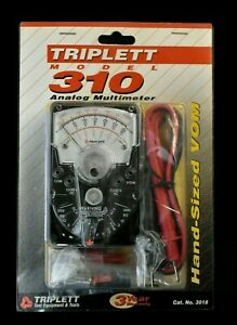 Triplett 310 Compact Hand sized Analog Vom Multimeter 3018 With 42 Test Leads