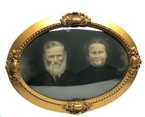 Antique Photo Wood Picture Frame Convex Curved Glass Bubble Old Man Woman Couple