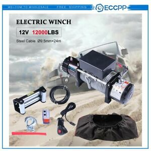 Eccpp 12v 12000lbs Electric Winch Steel Cable Truck Trailer Off Road 4wd W Cove