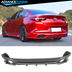 Fits 19 20 Mazda 3 4dr Sedan Rear Bumper Lip Matte Black Pp
