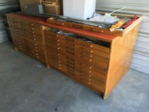 Vintage Flat File Cabinet For Blueprints Drawings Photos Or Maps Solid Oak