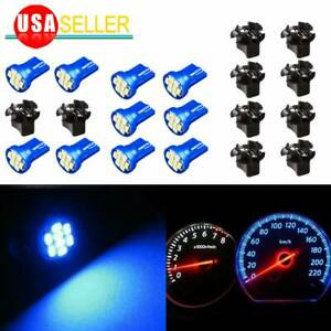 10x T10 194 168 Led Bulb Blue Instrument Dashboard Cluster Light Twist Socket