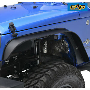 Eag Fit 07 18 Jeep Wrangler Jk Steel Flat Stubby Front And Rear Fender Flares