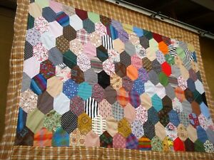 Vtg 50 S 60 S Hexagon Quilt Top Hand Stitched