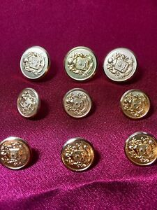 Vintage Antique Old Gold Crest Waterbury Blazer Sport Coat Buttons 9 Piece Set