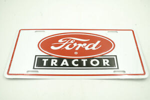 Ford Tractor Red Logo Licensed Aluminum Metal License Plate Sign Tag