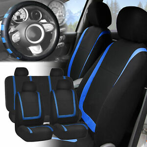 Car Seat Covers Blue Black Full Set For Auto W blue Leather Steering Wheel