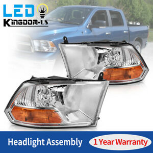 For 2009 2012 Dodge Ram 1500 2500 3500 Crystal Clear Headlights Head Lamps Set