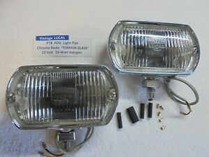 Lucas Ft8 Fog Light Pair Foreign Glass Chrome Housings