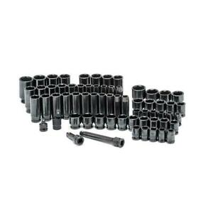 Husky Impact Socket Set Black Oxide Durable 1 2 In Drive Sae Metric 64 Piece