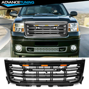 Fits 11 14 Gmc Sierra 2500 3500 Front Bumper Grille Gloss Black