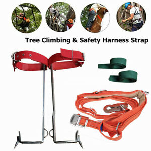 Tree Climbing Spike Set Safety Harness Strap Adjustable Lanyard Rope Rescue Belt
