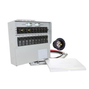 Manual Transfer Switch Dual Color Coded Removable Cover 30 Amp 10 circuit