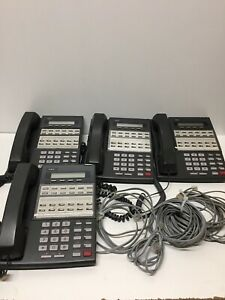 Lot Of 4 Nec 80573 Display Telephone With Handsets And Phone Lines