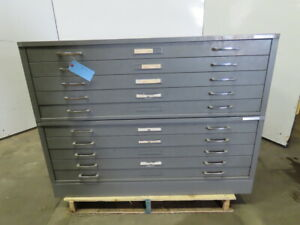 Mayline 10 Drawer Steel Blueprint Plans Map Art Architect Flat Filing Cabinet