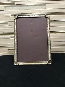 Vintage Picture Frame Ornate Metal Faux Mother Of Pearl Inlay 5 X 7 Art Deco