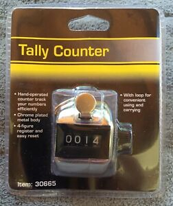 Tally Counter Hand operated Chrome Plated 4 figure Register Easy Reset