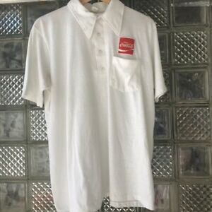 Vintage 80s Coca Cola Employee Polo Shirt White