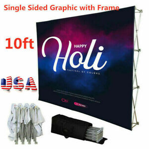 10ft Tension Fabric Pop Up Display Trade Show Wall Single Sided Graphic usa