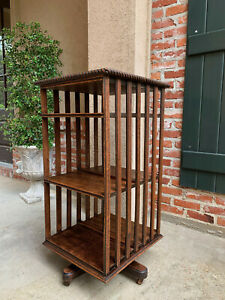 Antique English Tiger Oak Revolving Rolling Bookcase Bookshelf Arts
