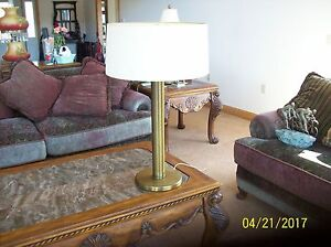 Antique Brass Vintage Diffuser Reflector Pillar Table Lamp 31 5 8 Tall Shade