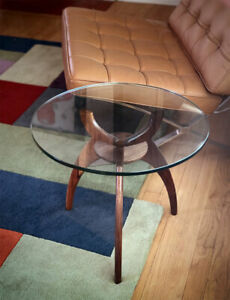 Round Glass Side Table With Solid Walnut Base
